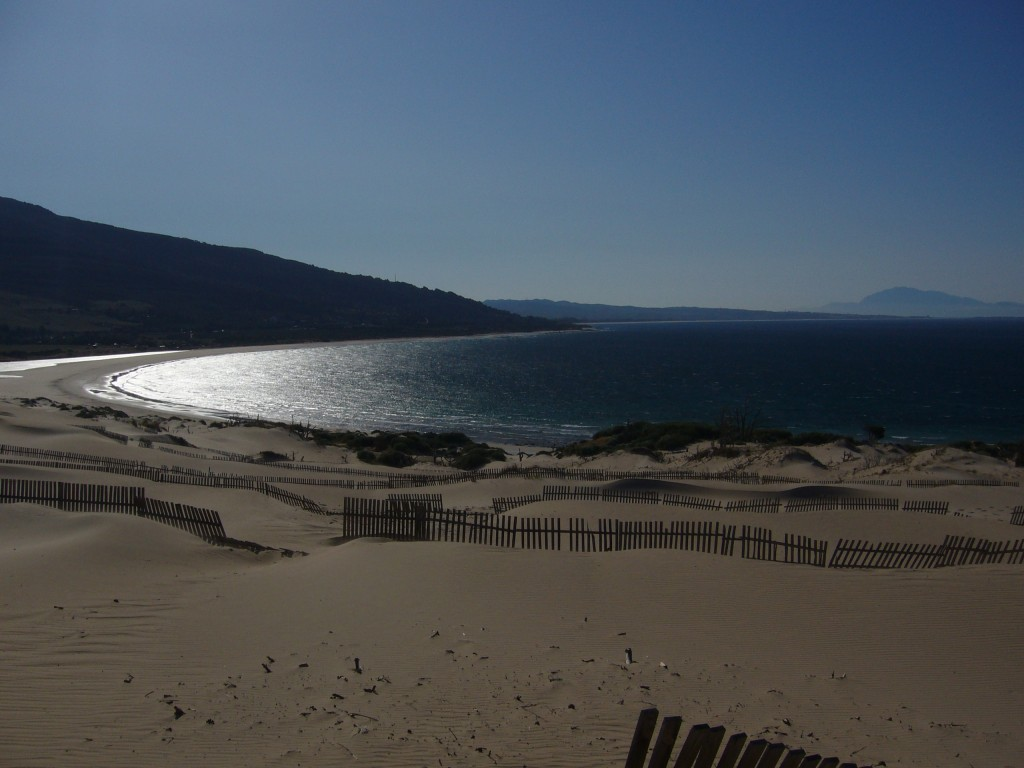 Valdevaqueros, looking back towards Tarifa with Morocco in the background.