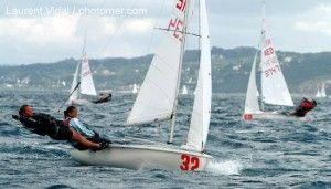 Mary Rook sailing with Jo Brigg in their last 420 world championship 2004